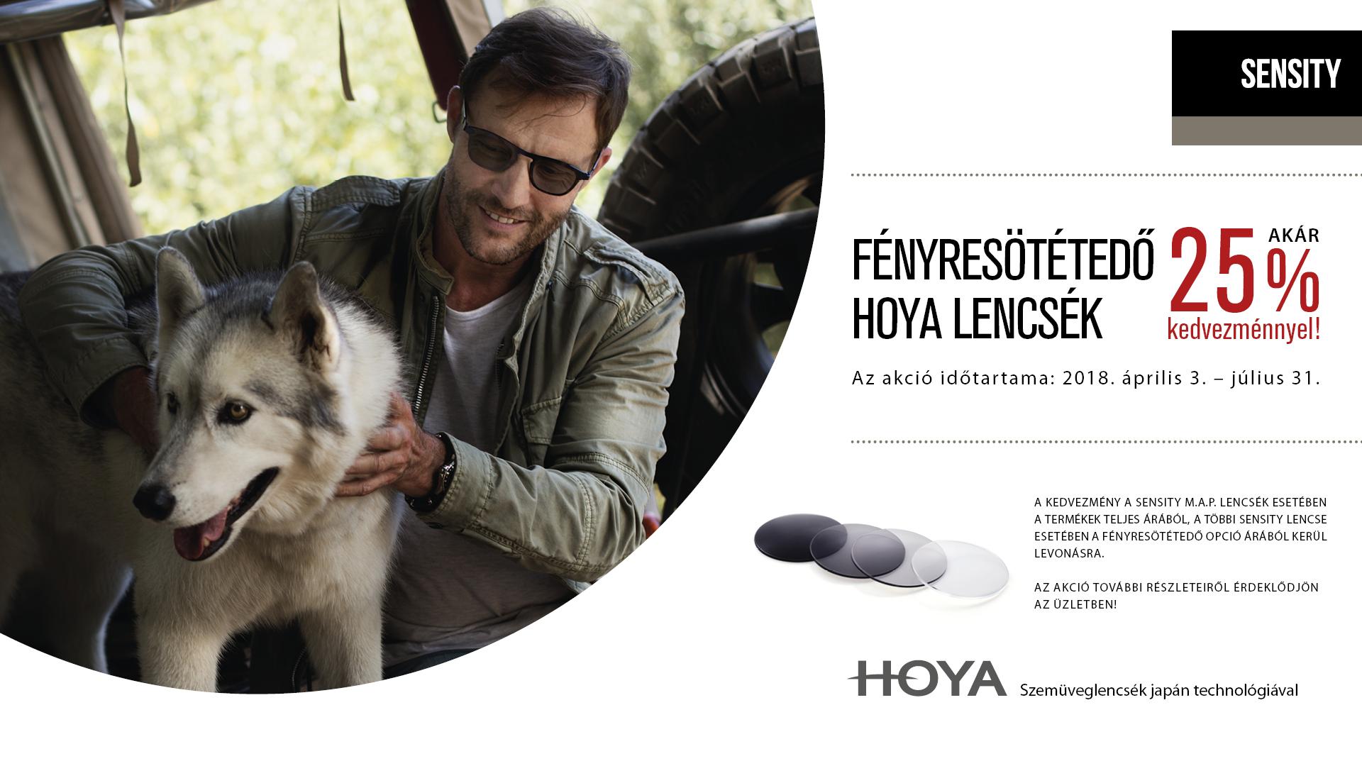 Hoya fényresötétedő szemüveglencsék akár 25% kedvezménnyel