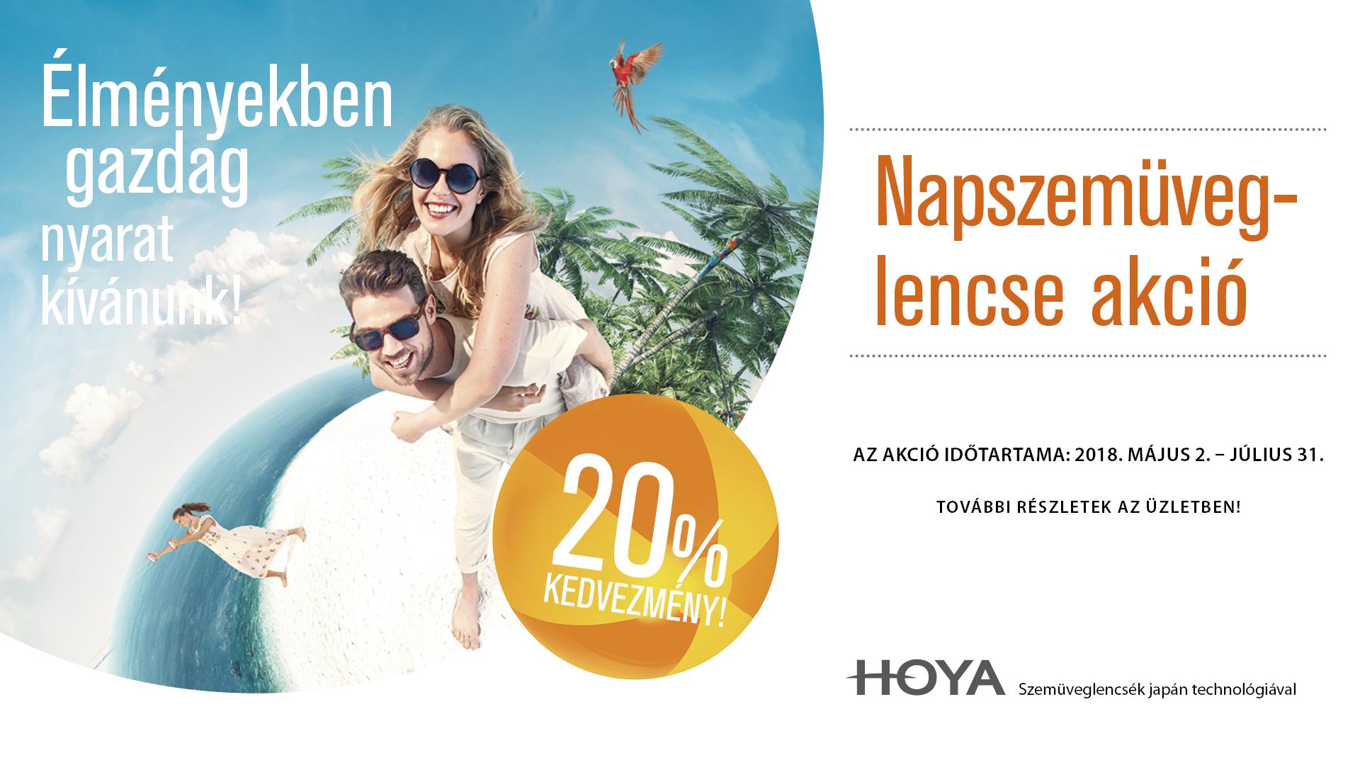 Hoya napszemüveglencse 20% kedvezménnyel