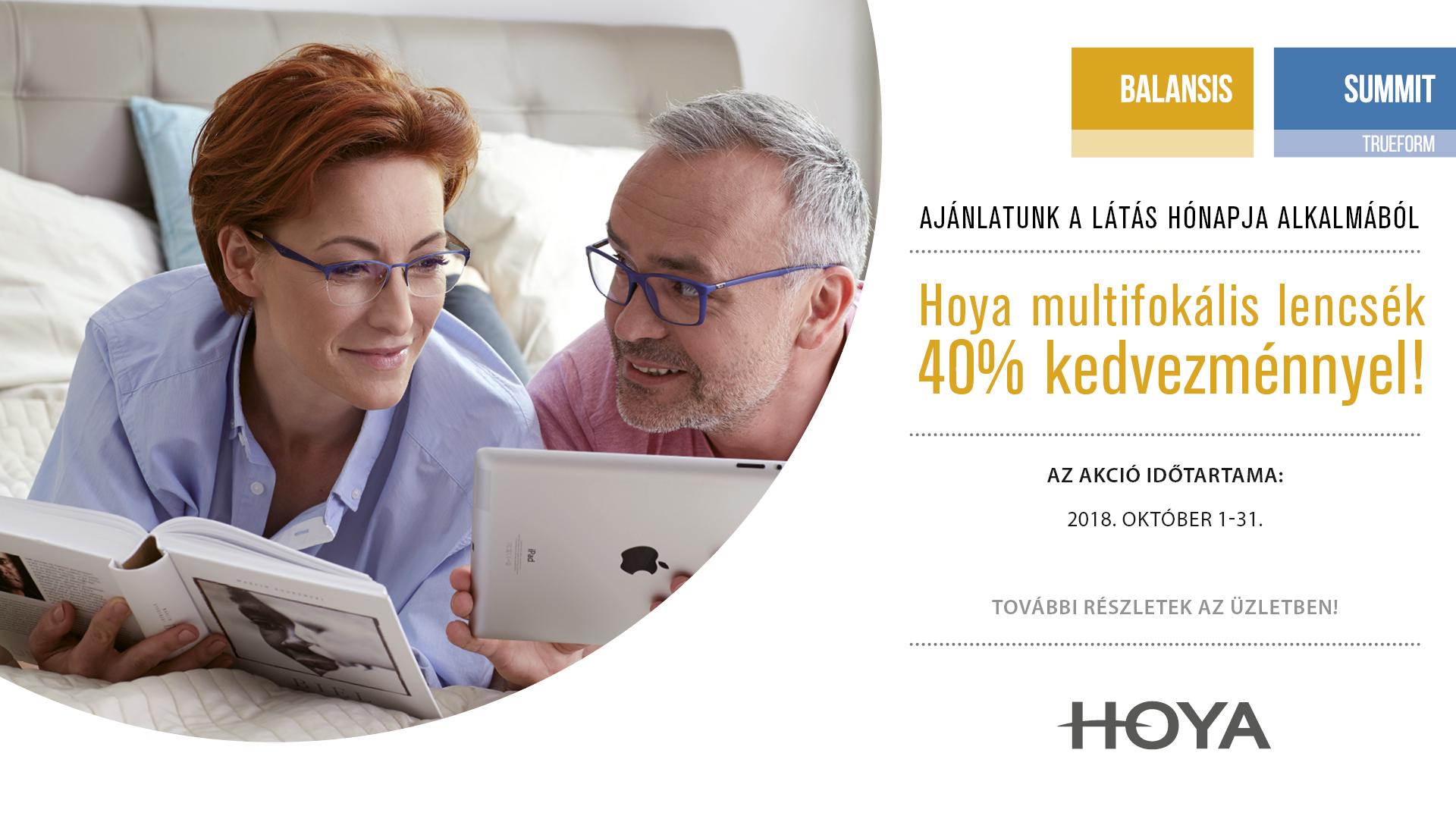 Hoya multifoális lencsék 40% kedvezménnyel!