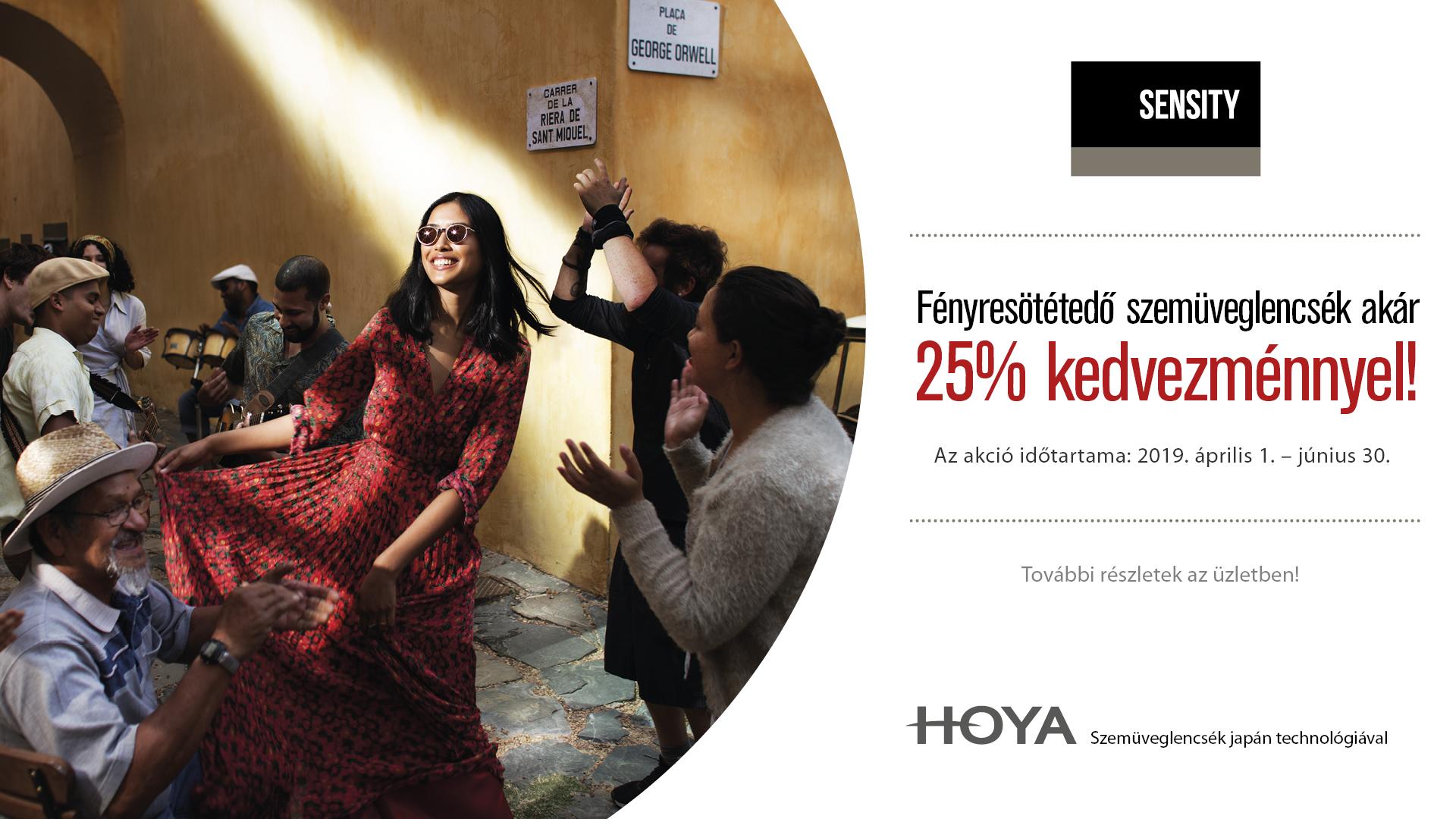 Hoya Sensity fényresötétedő lencse akció