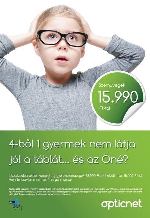 iskolakezdési gyermekszemüveg akció