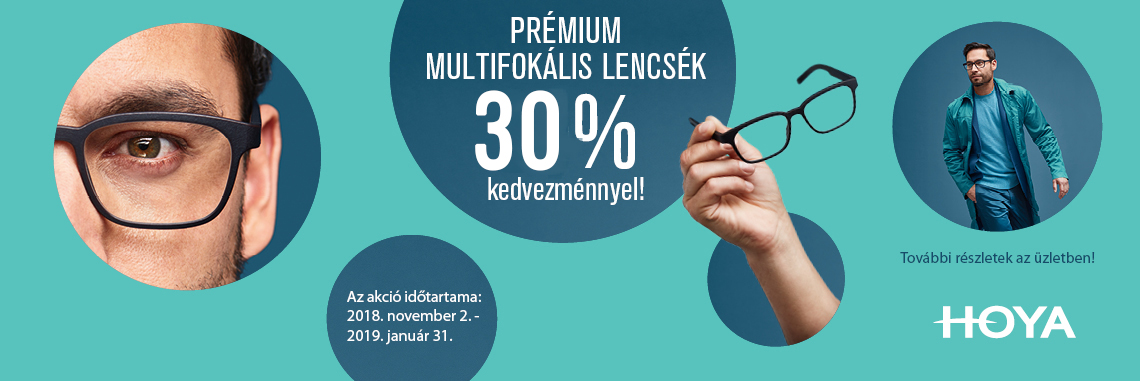 Hoya prémium progresszív lencsék 30% kedvezménnyel